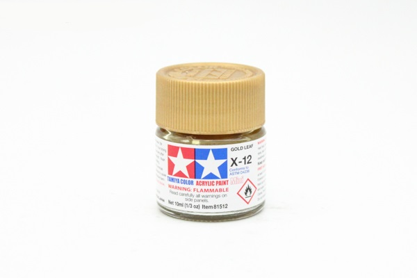 X-12 Gold Leaf metallic, acrylic paint mini 10 ml. (Золото металлик) Tamiya