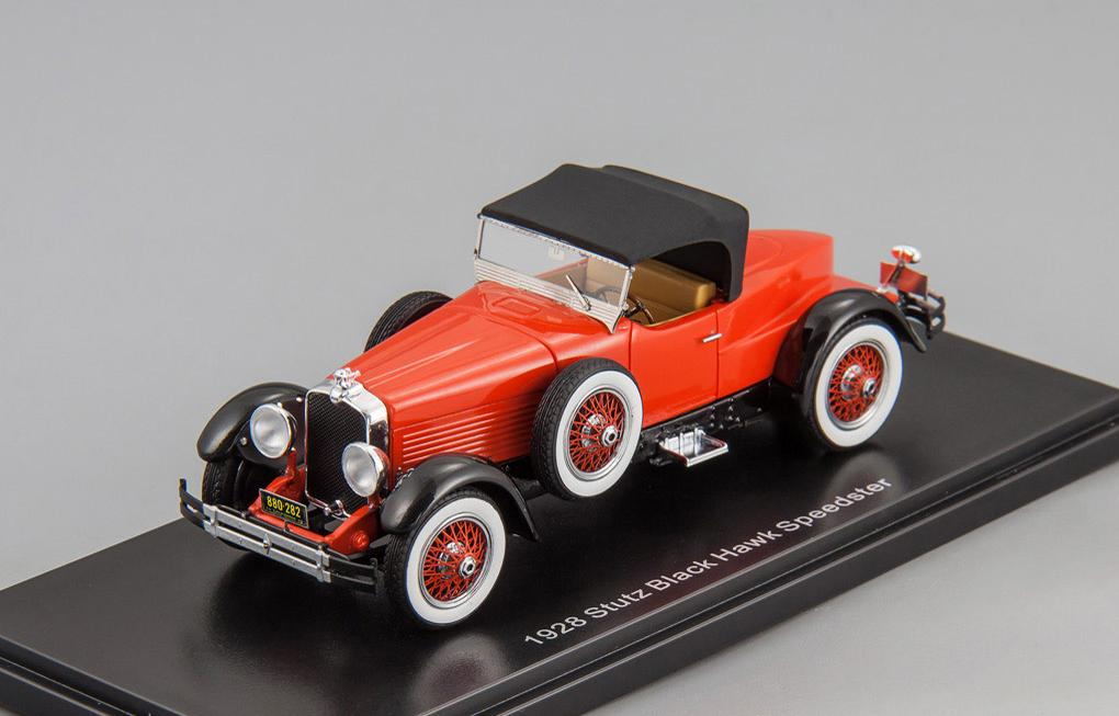 Stutz Blackhawk Boattail roadster 1928 closed roof (red/black)