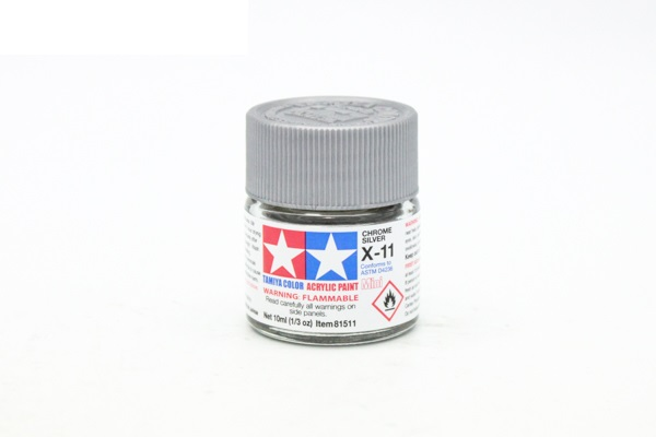 X-11 Chrome Silver metallic, acrylic paint mini 10 ml. (Хром-Серебро металлик) Tamiya