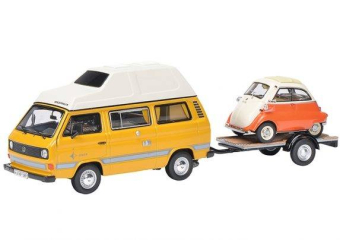 Volkswagen T3 camping bus with trailer and BMW Isetta